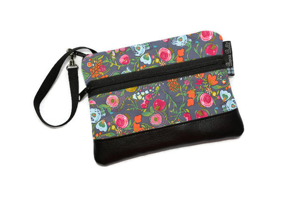 Long Zip Phone Bag - Faux Leather Accent - Cross Body Option - Love Blooms Fabric