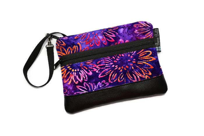 Long Zip Phone Bag - Faux Leather Accent - Cross Body Option - New Purple Batik Fabric