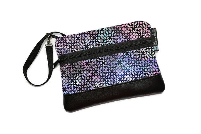 Long Zip Phone Bag - Faux Leather Accent - Cross Body Option - New Purple Gray Fabric