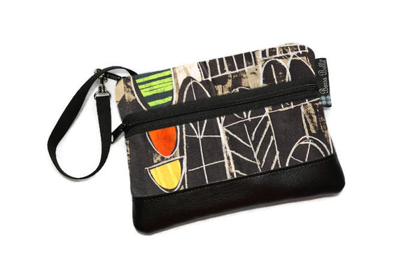 Long Zip Phone Bag - Faux Leather Accent - Cross Body Option -  Art Deco Fabric