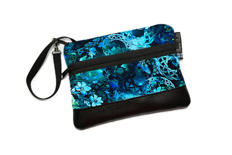 Long Zip Phone Bag - Faux Leather Accent - Cross Body Option - New Teal Fabric