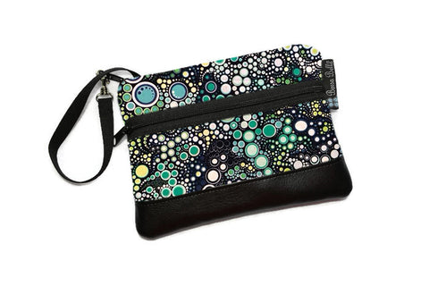 Deluxe Long Zip Phone Bag - Faux Leather Accent - Cross Body Option -  Ocean Blues Dot Fabric