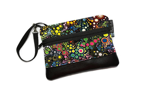 Long Zip Phone Bag - Faux Leather Accent - Cross Body Option -  Caribbean Dot Fabric