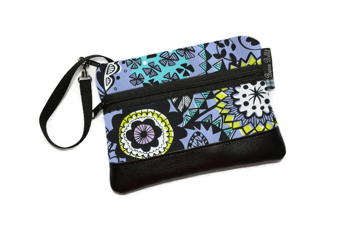 Long Zip Phone Bag - Faux Leather Accent - Cross Body Option - Periwinkle Fabric