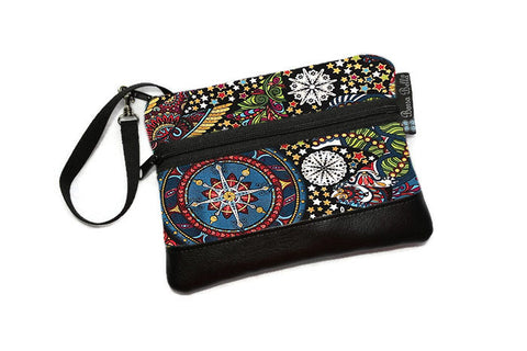 Long Zip Phone Bag - Faux Leather Accent - Cross Body Option -  Celestial Winter Fabric