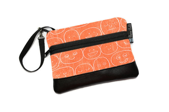 Long Zip Phone Bag - Faux Leather Accent - Cross Body Option - Orange Expression Canvas Fabric