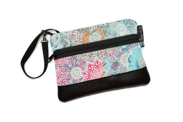 Long Zip Phone Bag - Faux Leather Accent - Cross Body Option - Spirograph Color Fabric