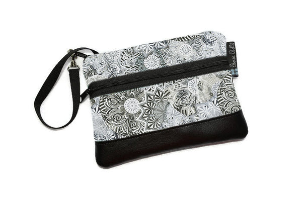 Long Zip Phone Bag - Faux Leather Accent - Cross Body Option - Spirograph Gray Fabric
