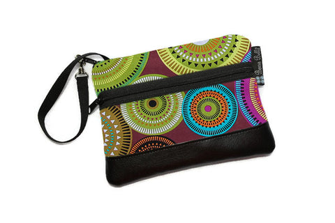 Long Zip Phone Bag - Faux Leather Accent - Cross Body Option - Bohemian Jewels Fabric