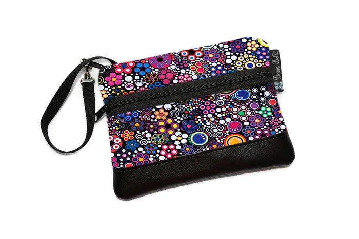 Long Zip Phone Bag - Faux Leather Accent - Cross Body Option -  Glorious Dot Fabric