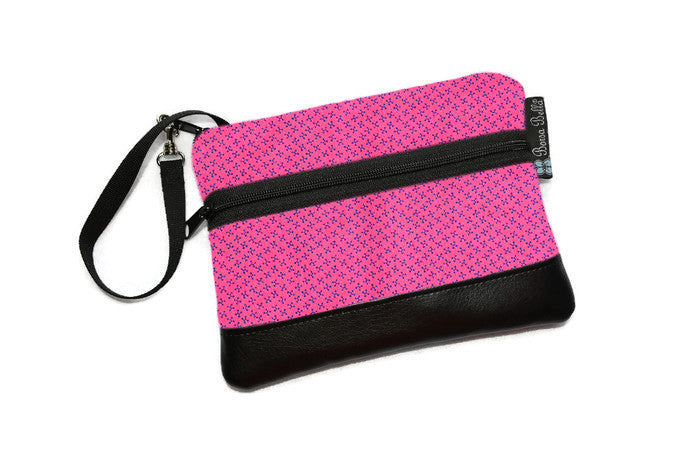 Long Zip Phone Bag - Faux Leather Accent - Cross Body Option - Jacks Fabric