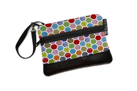 Clearance Long Zip Phone Bag - Faux Leather Accent - Cross Body Option -  Hexadelic Fabric