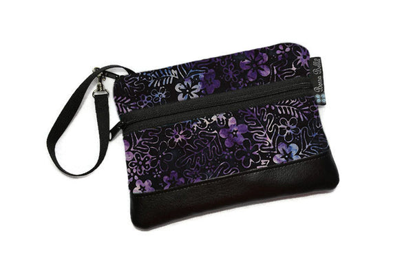 Long Zip Phone Bag - Faux Leather Accent - Cross Body Option - Midnight Majesty Fabric