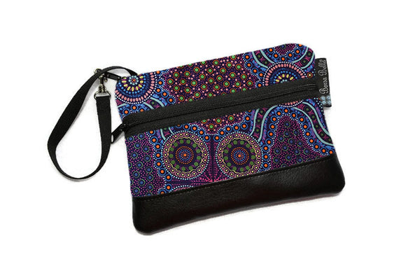 Long Zip Phone Bag - Faux Leather Accent - Cross Body Option - Wild Bush Flowers Fabric