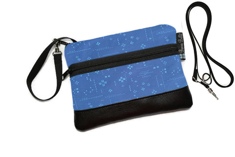 Deluxe Long Zip Phone Bag - Converts to Cross Body Purse - Bright Blue Crosshatch Fabric