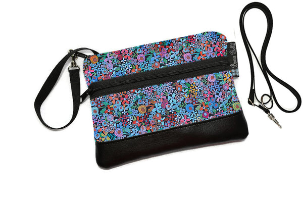 Deluxe Long Zip Phone Bag - Converts to Cross Body Purse - Mini Wild Flowers Fabric
