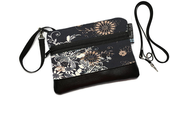 Deluxe Long Zip Phone Bag - Converts to Cross Body Purse - Black Beauty Fabric