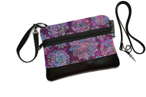 Deluxe Long Zip Phone Bag - Converts to Cross Body Purse - Blissful Garden Fabric