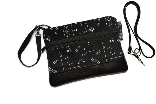 Deluxe Long Zip Phone Bag - Converts to Cross Body Purse - Crosshatch Black Fabric