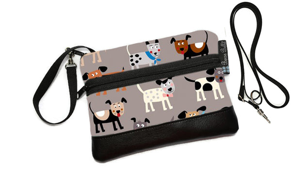 Deluxe Long Zip Phone Bag - Converts to Cross Body Purse - Dog Gone Delightful Fabric