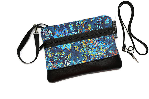 Deluxe Long Zip Phone Bag - Converts to Cross Body Purse - Electric Blue Fabric