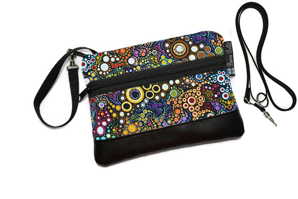 Deluxe Long Zip Phone Bag - Converts to Cross Body Purse - Happy Fabric