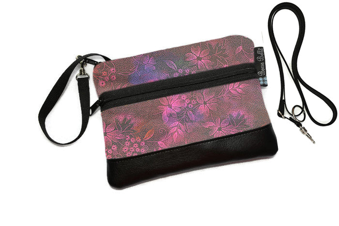 Deluxe Long Zip Phone Bag - Converts to Cross Body Purse - Night Glow Fabric