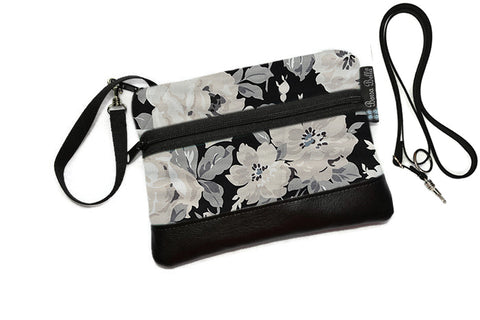 Deluxe Long Zip Phone Bag - Converts to Cross Body Purse - Sugar Rose Fabric