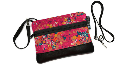 Deluxe Long Zip Phone Bag - Converts to Cross Body Purse - Winter Pink Fabric