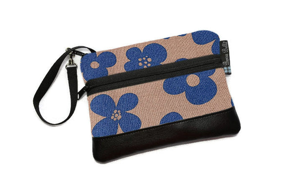 Clearance Long Zip Phone Bag - Faux Leather Accent - Cross Body Option -  Blue Bayou Fabric