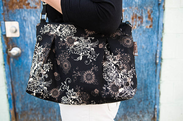 Hobo Purse Cross Body - Shoulder Bag -Black Beauty Fabric
