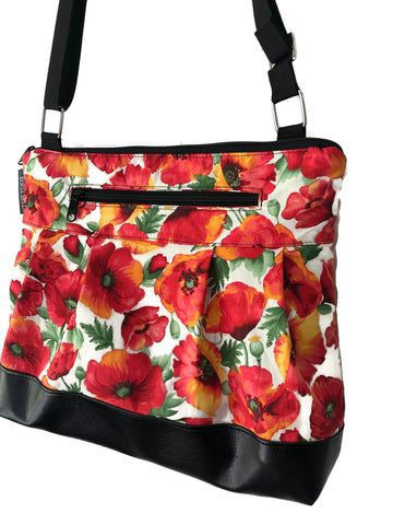 Hobo Purse Cross Body - Shoulder Bag - Poppies Fabric