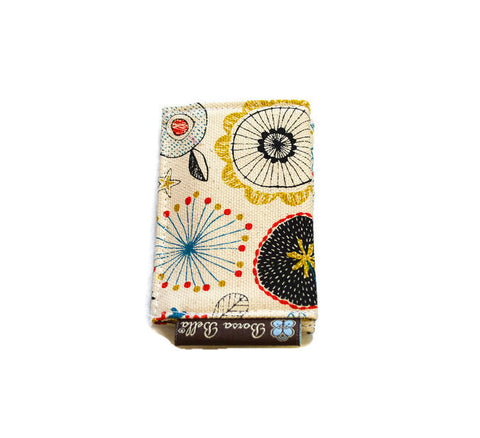 Card Holder RFID Protected - Doodle Floral Canvas Fabric
