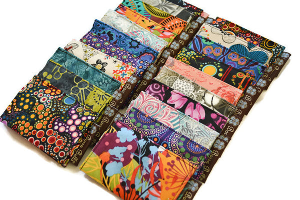 Card Holder RFID Protected - Wild Bush Flowers Fabric