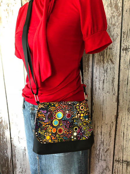 Itsy Bitsy Messenger Purse - New Colorful Brown Fabric