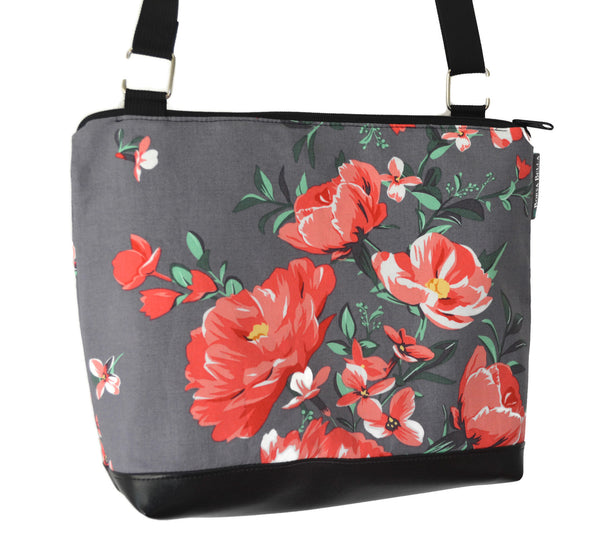 New Design - The Ariel Purse - Gray Floral Fabric