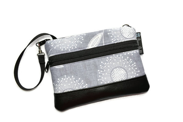 Long Zip Phone Bag - Faux Leather Accent - Cross Body Option - Dandilion Wishes Fabric