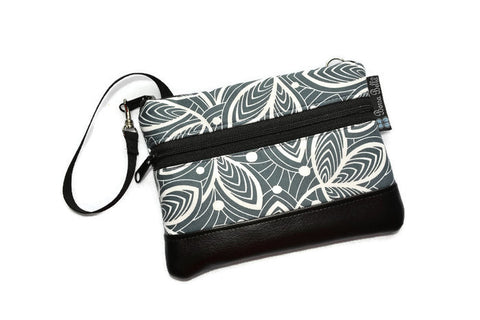 Long Zip Phone Bag - Faux Leather Accent - Cross Body Option - Earl Gray Fabric