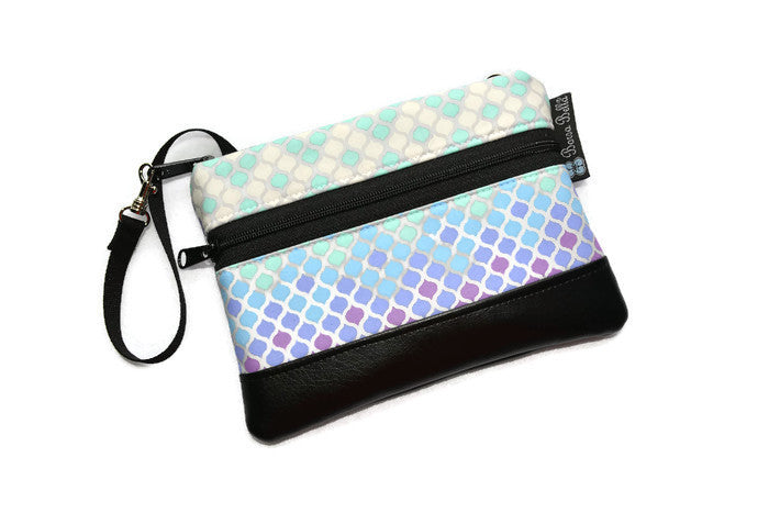 Long Zip Phone Bag - Faux Leather Accent - Cross Body Option - Sea Glass Fabric