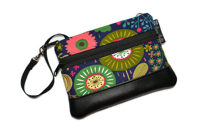 Long Zip Phone Bag - Faux Leather Accent - Cross Body Option - Garden Variety Fabric