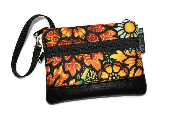 Long Zip Phone Bag - Faux Leather Accent - Cross Body Option - Desert Bloom Fabric