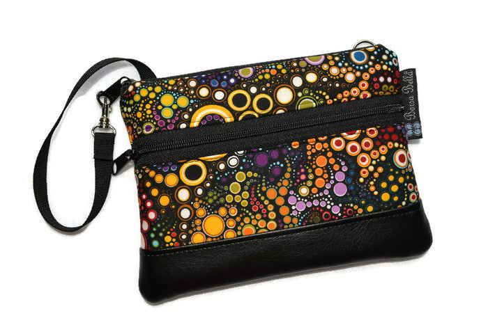 Long Zip Phone Bag - Faux Leather Accent - Cross Body Option - Happy Fabric
