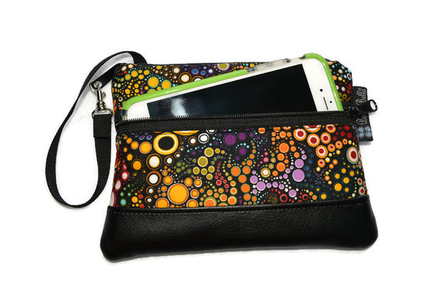 Long Zip Phone Bag - Faux Leather Accent - Cross Body Option - Doodle Blooms Black Canvas Fabric