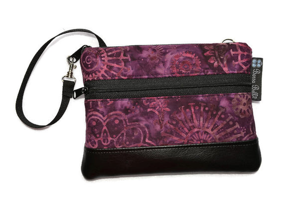 Long Zip Phone Bag - Faux Leather Accent - Cross Body Option - Wine Batik Fabric