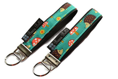 Keychain Wristlets -  Hedgehog Fabric