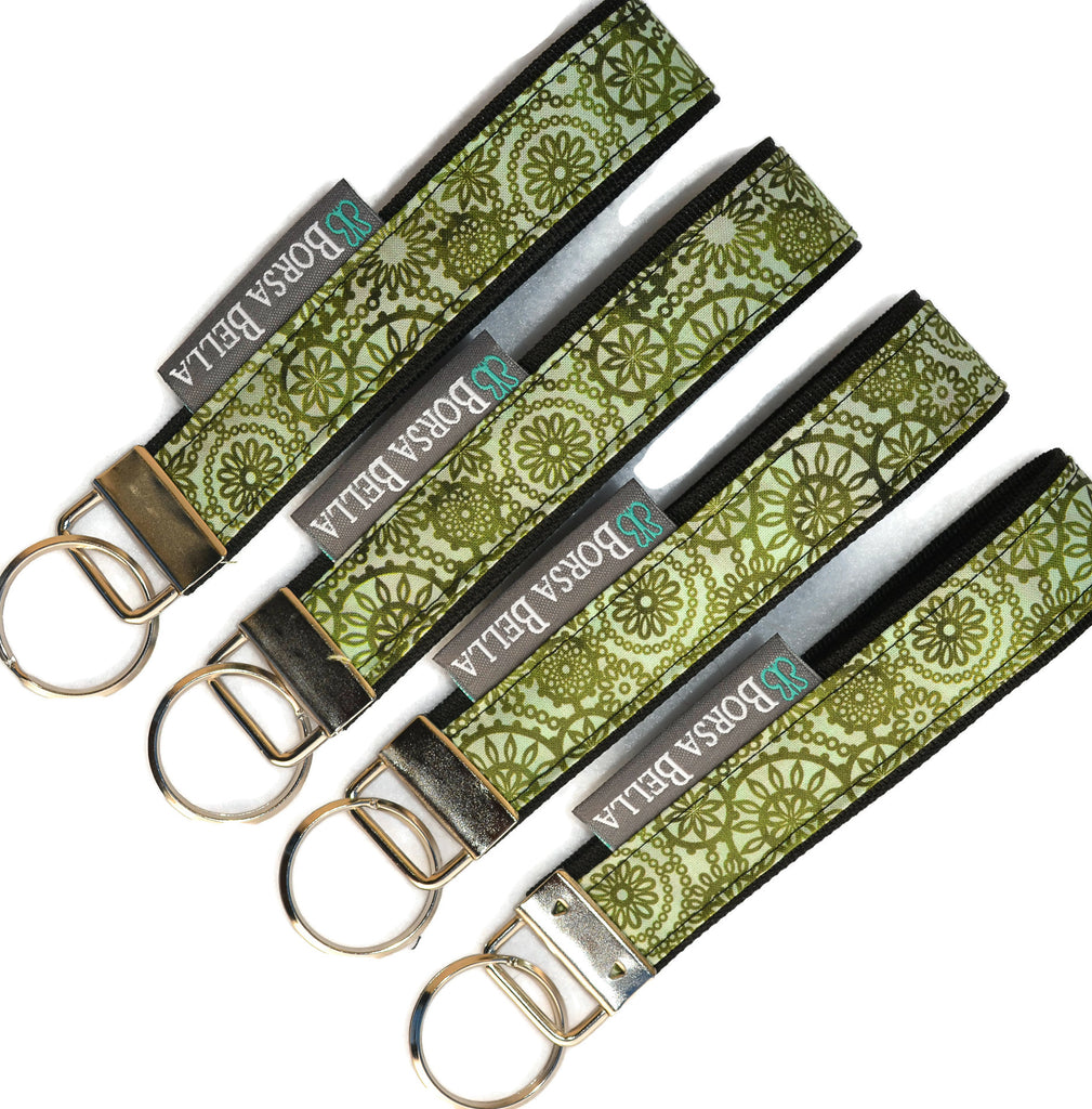 Keychain Wristlets -   Green Lace Fabric
