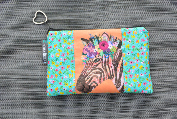 Catch All Zippered Pouch - Limited Edition Floral Zebra Fabric