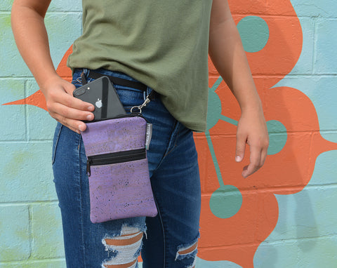 Short Zip Phone Bag - Wristlet Converts to Cross Body Purse - Purple Cork Fabric