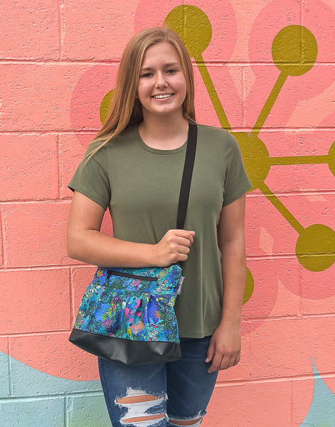 Hobo Purse Cross Body - Shoulder Bag - Green Meadows Fabric