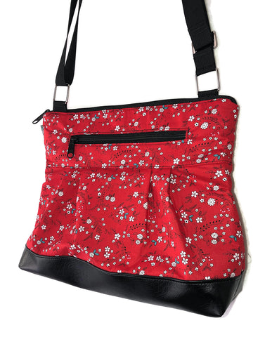 Hobo Purse Cross Body - Shoulder Bag - Sweet Red Fabric